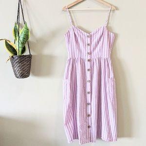 Linen Striped Button Down Sundress